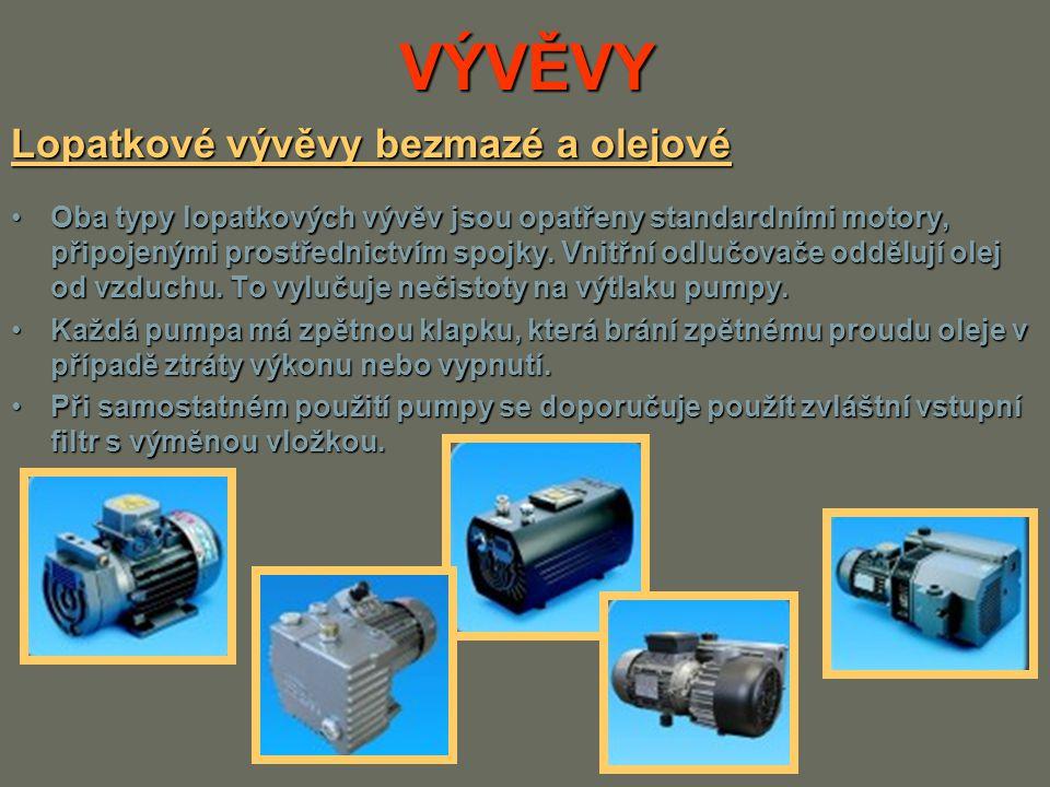 VÝVĚVY Lopatkové vývěvy bezmazé a olejové Oba typy lopatkových vývěv jsou opatřeny standardními motory, připojenými prostřednictvím spojky. Vnitřní od