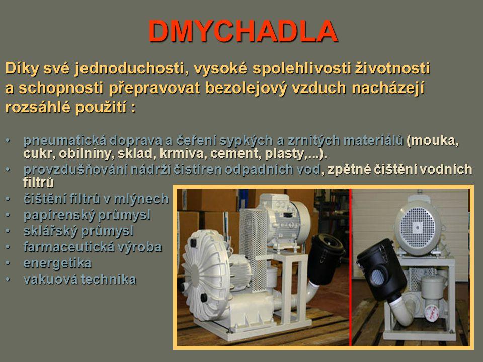 DMYCHADLA Dmychadla se rozlišují podle konstrukce pístové, u něhož pohyb pístu je :pístové, u něhož pohyb pístu je : – přímočarý – otáčivý (rotační), lopatkové (turbínové), kde pracovním orgánem je oběžné lopatkové kolo v provedení :lopatkové (turbínové), kde pracovním orgánem je oběžné lopatkové kolo v provedení : –radiální, –diagonální –axiální