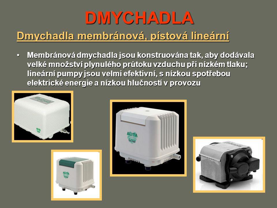DMYCHADLA Dmychadla membránová, pístová lineární Membránová dmychadla jsou konstruována tak, aby dodávala velké množství plynulého průtoku vzduchu při