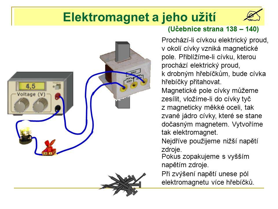 1,54,5 Elektromagnet a jeho užití (Učebnice strana 138 – 140) Prochází-li cívkou elektrický proud, v okolí cívky vzniká magnetické pole. Přiblížíme-li