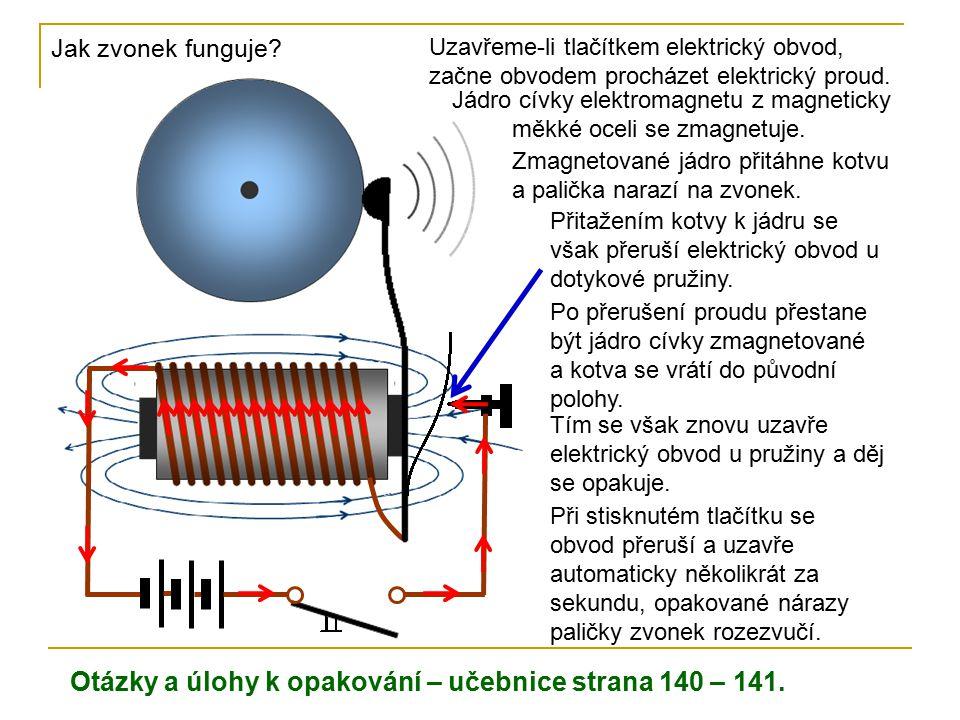 Jak zvonek funguje? Uzavřeme-li tlačítkem elektrický obvod, začne obvodem procházet elektrický proud. Jádro cívky elektromagnetu z magneticky měkké oc