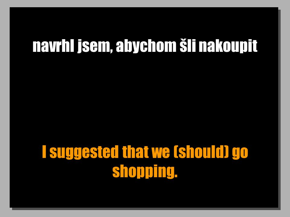 navrhl jsem, abychom šli nakoupit I suggested that we (should) go shopping.