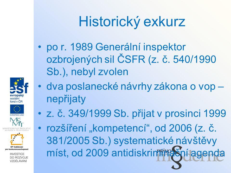 Historický exkurz po r. 1989 Generální inspektor ozbrojených sil ČSFR (z. č. 540/1990 Sb.), nebyl zvolen dva poslanecké návrhy zákona o vop – nepřijat