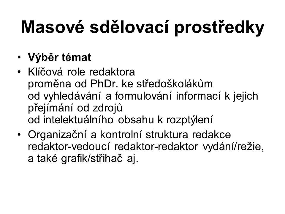 Masové sdělovací prostředky Výběr témat Klíčová role redaktora proměna od PhDr.