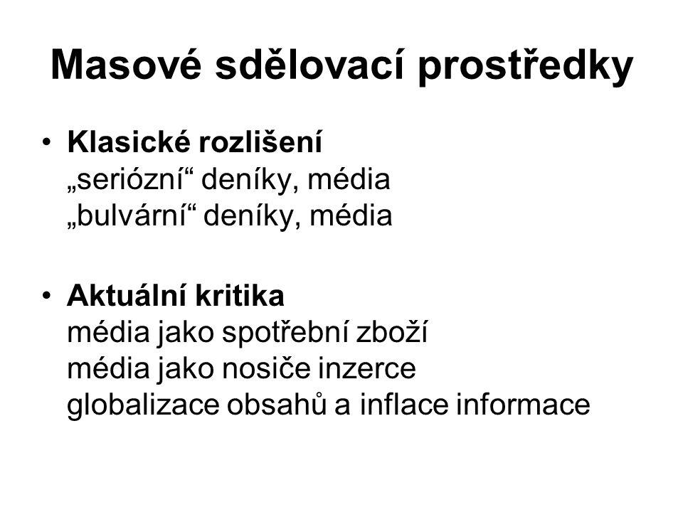 Masové sdělovací prostředky Jak přijímáme význam zpráv.