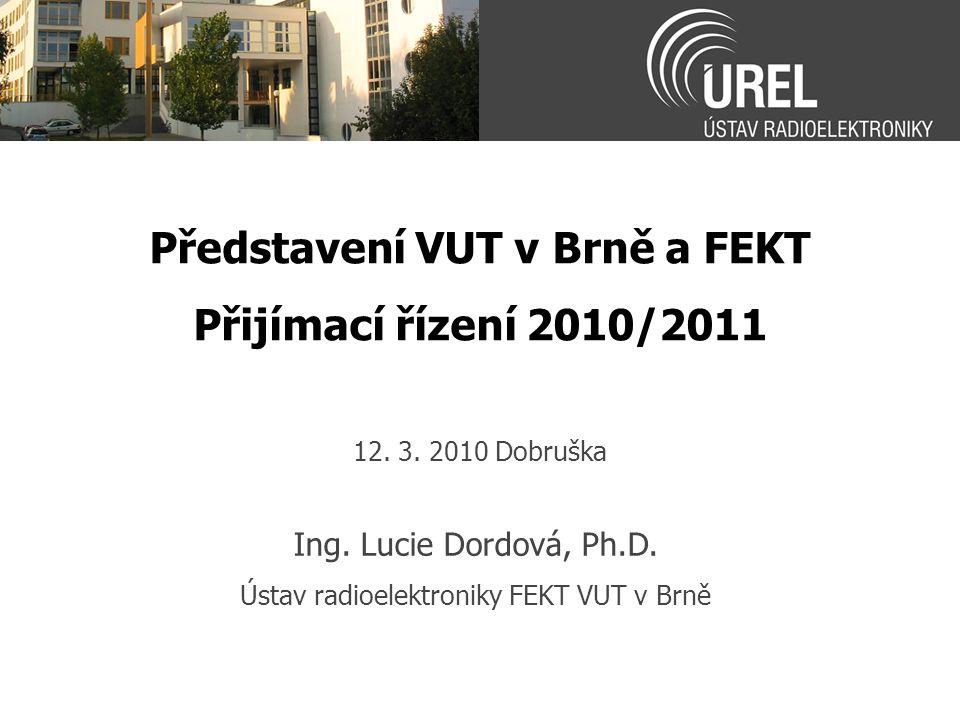 Představení VUT v Brně a FEKT Přijímací řízení 2010/2011 Ing. Lucie Dordová, Ph.D. Ústav radioelektroniky FEKT VUT v Brně 12. 3. 2010 Dobruška