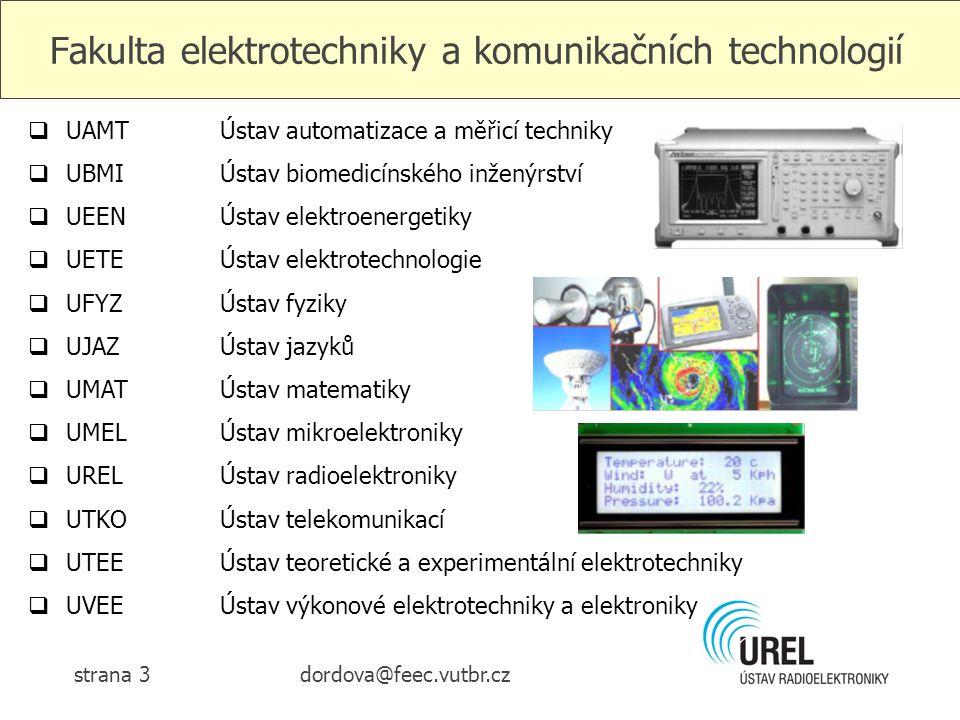 dordova@feec.vutbr.czstrana 3 Fakulta elektrotechniky a komunikačních technologií  UAMTÚstav automatizace a měřicí techniky  UBMIÚstav biomedicínské