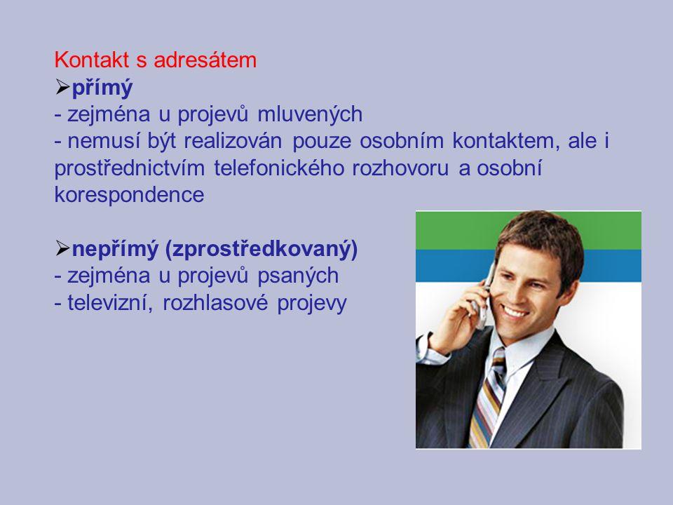 Kontakt s adresátem  přímý - zejména u projevů mluvených - nemusí být realizován pouze osobním kontaktem, ale i prostřednictvím telefonického rozhovo