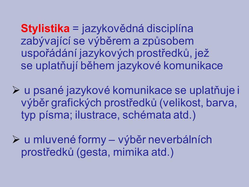 Stylistika = jazykovědná disciplína zabývající se výběrem a způsobem uspořádání jazykových prostředků, jež se uplatňují během jazykové komunikace  u