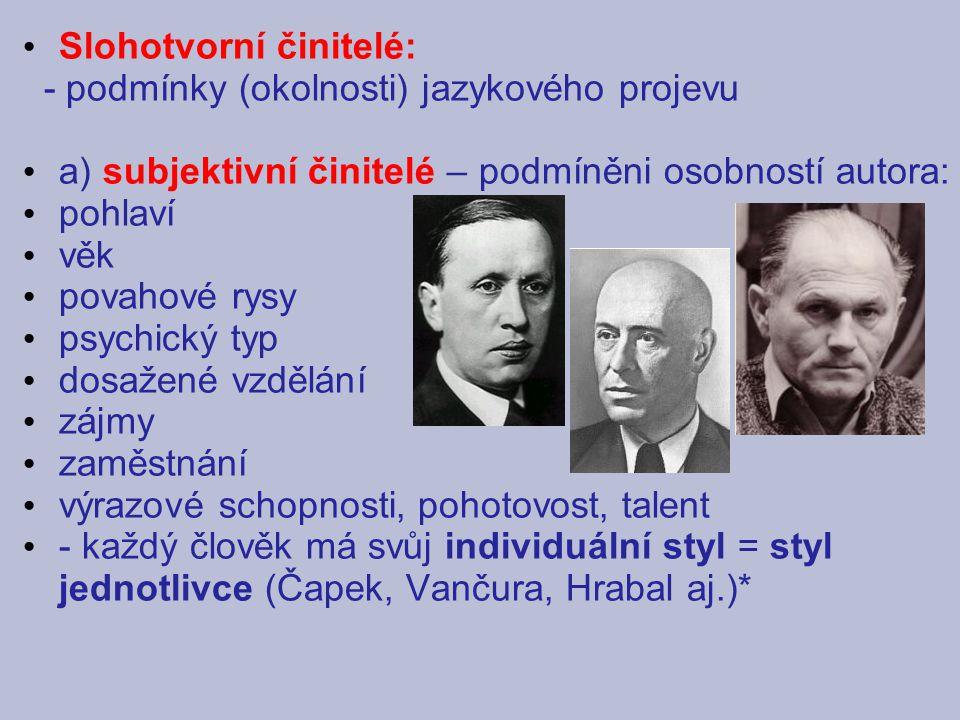Slohotvorní činitelé: - podmínky (okolnosti) jazykového projevu a) subjektivní činitelé – podmíněni osobností autora: pohlaví věk povahové rysy psychi