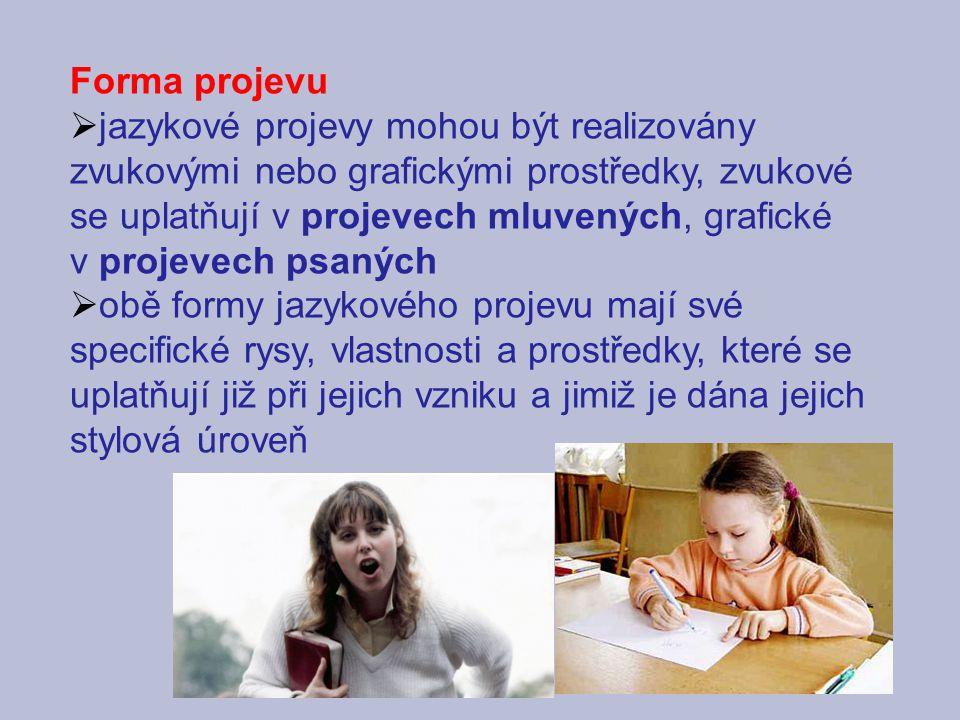Forma projevu  jazykové projevy mohou být realizovány zvukovými nebo grafickými prostředky, zvukové se uplatňují v projevech mluvených, grafické v pr