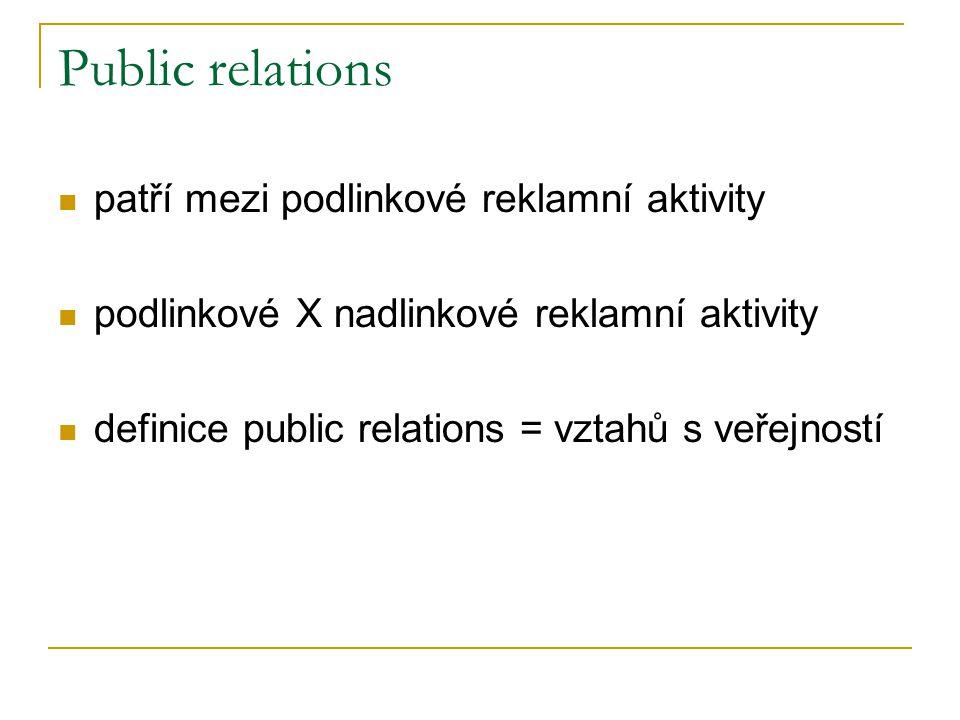 Public relations patří mezi podlinkové reklamní aktivity podlinkové X nadlinkové reklamní aktivity definice public relations = vztahů s veřejností