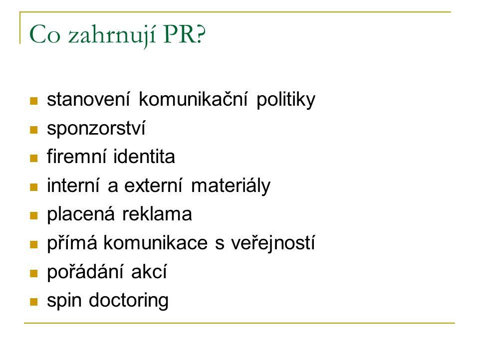 Co zahrnují PR? stanovení komunikační politiky sponzorství firemní identita interní a externí materiály placená reklama přímá komunikace s veřejností