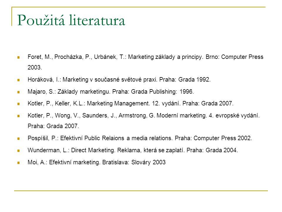 Použitá literatura Foret, M., Procházka, P., Urbánek, T.: Marketing základy a principy. Brno: Computer Press 2003. Horáková, I.: Marketing v současné