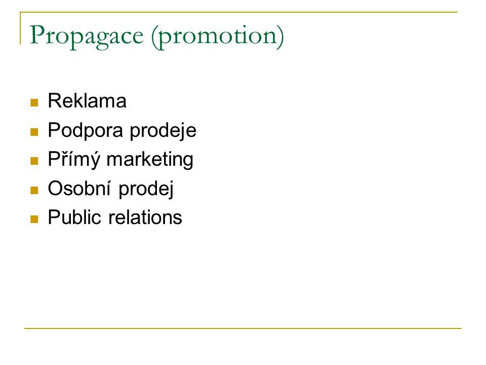Propagace (promotion) Reklama Podpora prodeje Přímý marketing Osobní prodej Public relations