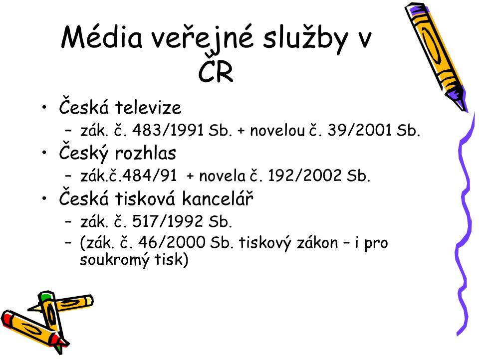 Média veřejné služby v ČR Česká televize –zák. č. 483/1991 Sb. + novelou č. 39/2001 Sb. Český rozhlas –zák.č.484/91 + novela č. 192/2002 Sb. Česká tis