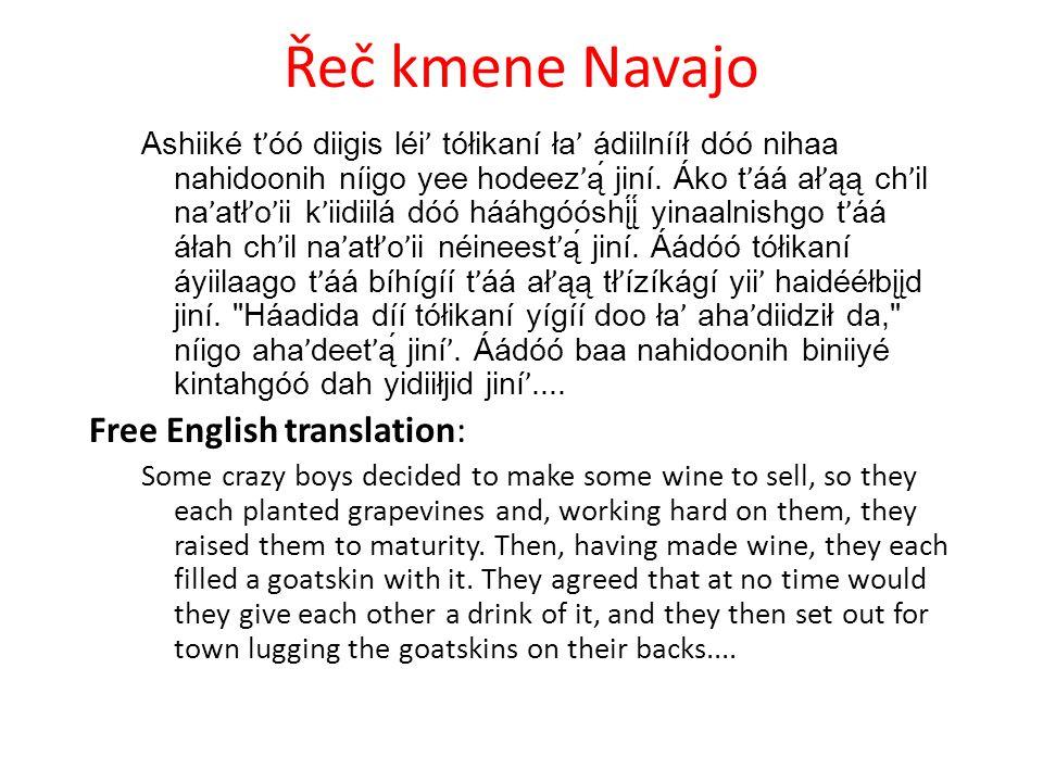 Řeč kmene Navajo Ashiiké t ' óó diigis léi ' tółikaní ła ' ádiilnííł dóó nihaa nahidoonih níigo yee hodeez ' ą́ jiní.