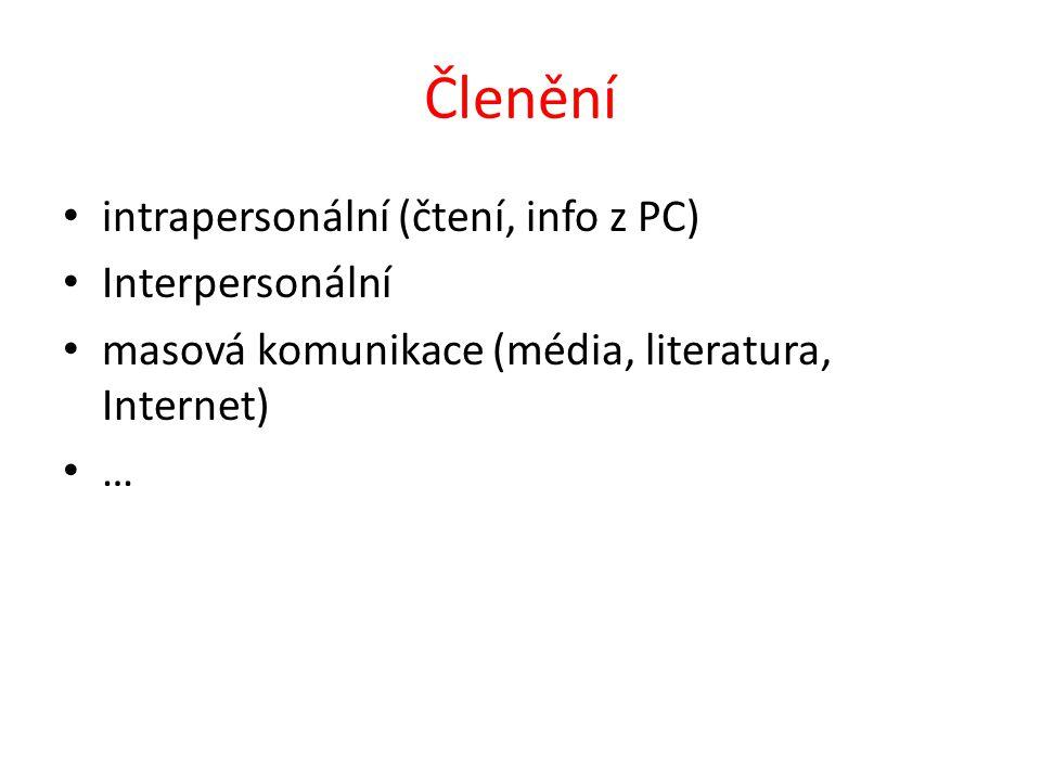 Členění intrapersonální (čtení, info z PC) Interpersonální masová komunikace (média, literatura, Internet) …