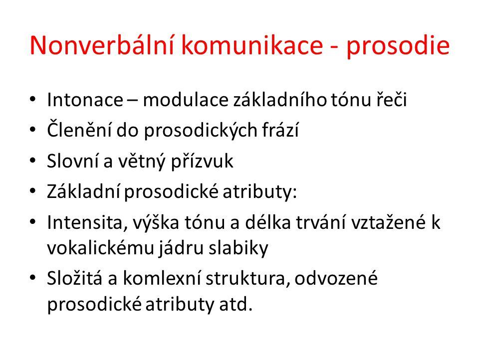Nonverbální komunikace - prosodie Intonace – modulace základního tónu řeči Členění do prosodických frází Slovní a větný přízvuk Základní prosodické atributy: Intensita, výška tónu a délka trvání vztažené k vokalickému jádru slabiky Složitá a komlexní struktura, odvozené prosodické atributy atd.