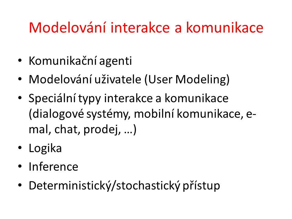Modelování interakce a komunikace Komunikační agenti Modelování uživatele (User Modeling) Speciální typy interakce a komunikace (dialogové systémy, mobilní komunikace, e- mal, chat, prodej, …) Logika Inference Deterministický/stochastický přístup