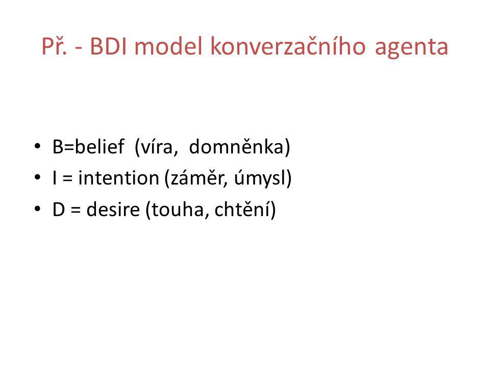Př. - BDI model konverzačního agenta B=belief (víra, domněnka) I = intention (záměr, úmysl) D = desire (touha, chtění)
