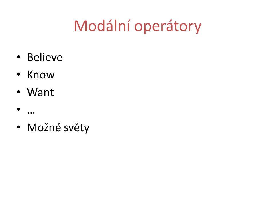 Modální operátory Believe Know Want … Možné světy