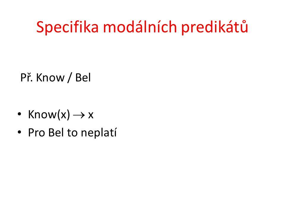 Specifika modálních predikátů Př. Know / Bel Know(x)  x Pro Bel to neplatí