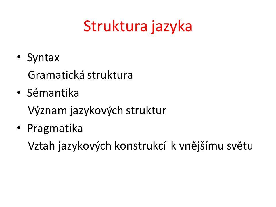 Struktura jazyka Syntax Gramatická struktura Sémantika Význam jazykových struktur Pragmatika Vztah jazykových konstrukcí k vnějšímu světu