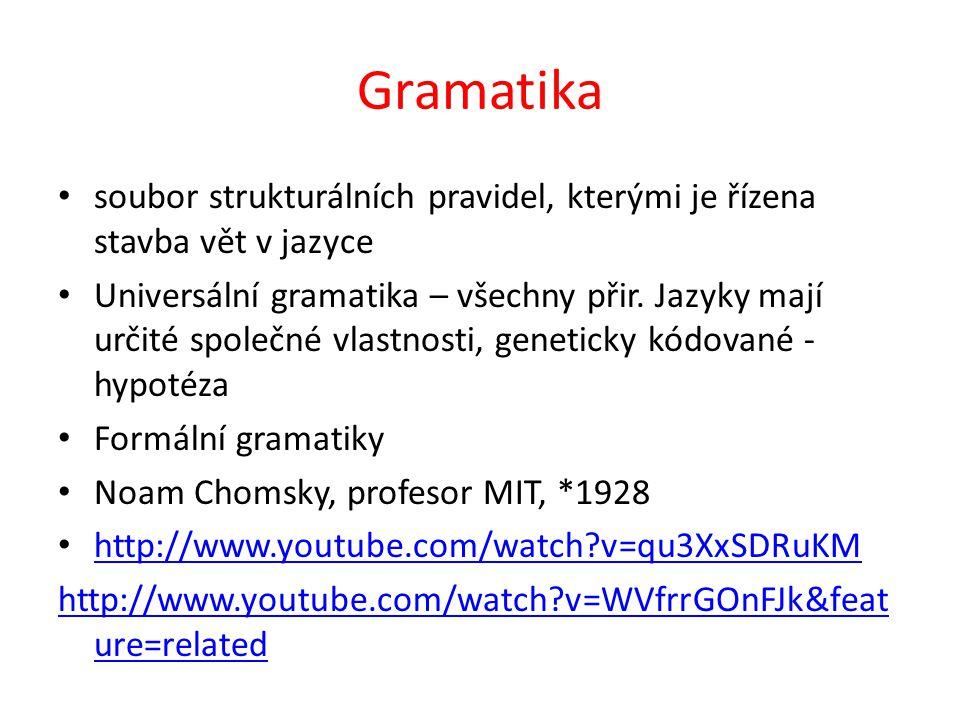 Gramatika soubor strukturálních pravidel, kterými je řízena stavba vět v jazyce Universální gramatika – všechny přir.