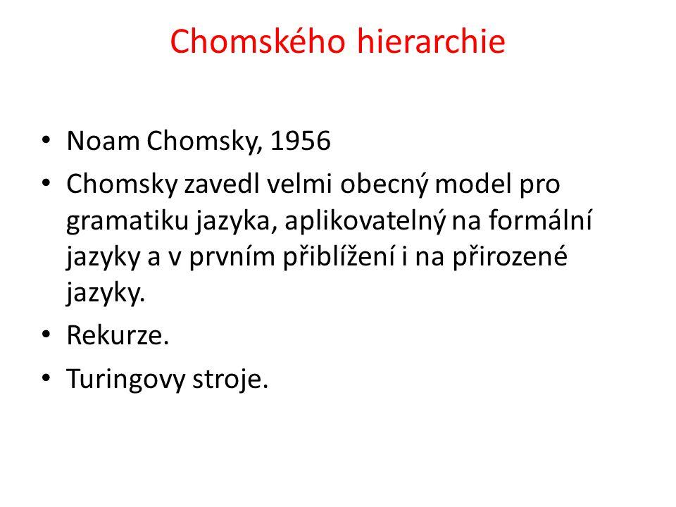 Chomského hierarchie Noam Chomsky, 1956 Chomsky zavedl velmi obecný model pro gramatiku jazyka, aplikovatelný na formální jazyky a v prvním přiblížení i na přirozené jazyky.
