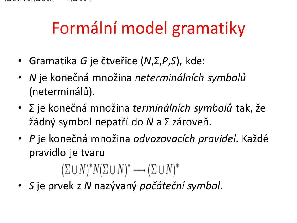 Formální model gramatiky Gramatika G je čtveřice (N,Σ,P,S), kde: N je konečná množina neterminálních symbolů (neterminálů).