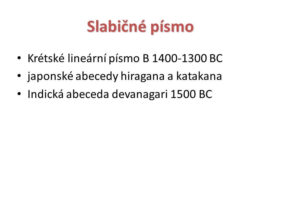 Slabičné písmo Krétské lineární písmo B 1400-1300 BC japonské abecedy hiragana a katakana Indická abeceda devanagari 1500 BC