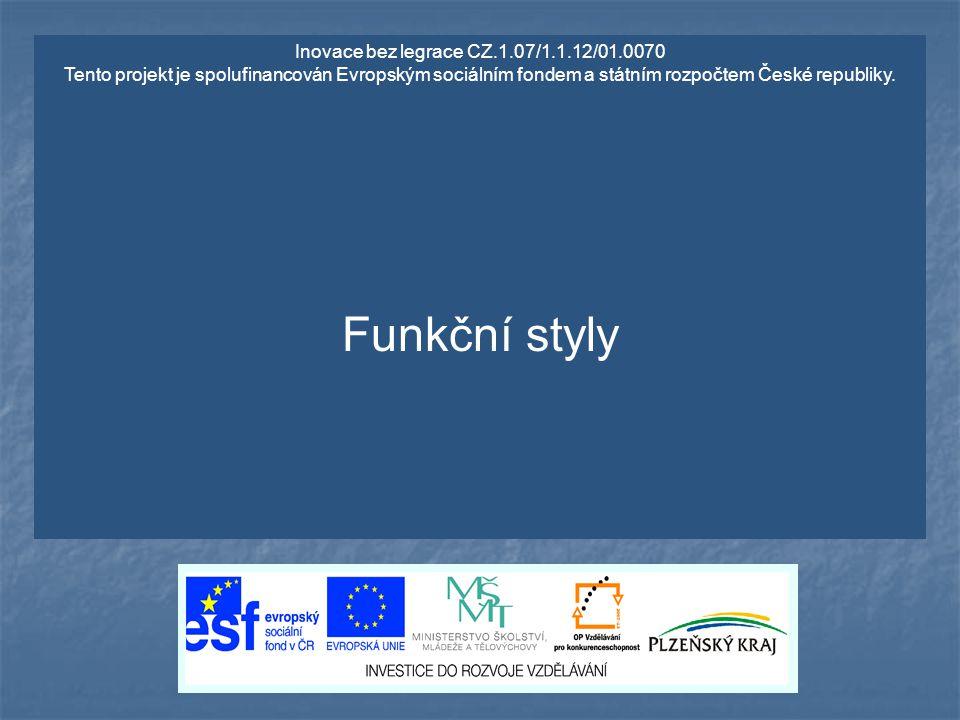 Inovace bez legrace CZ.1.07/1.1.12/01.0070 Tento projekt je spolufinancován Evropským sociálním fondem a státním rozpočtem České republiky. Funkční st