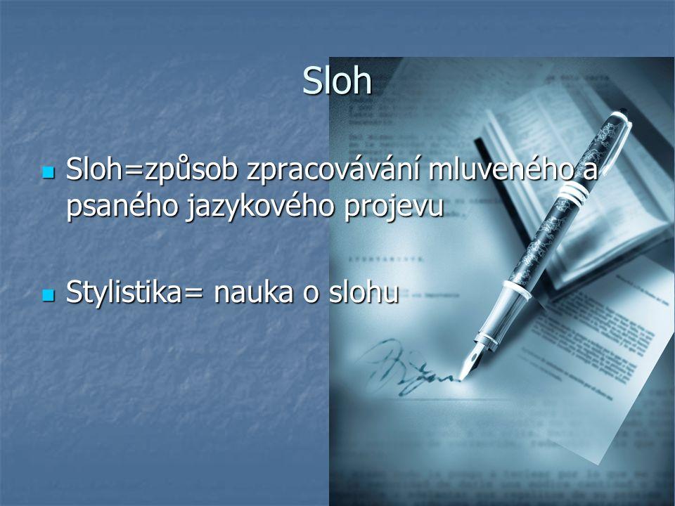 Sloh Sloh=způsob zpracovávání mluveného a psaného jazykového projevu Sloh=způsob zpracovávání mluveného a psaného jazykového projevu Stylistika= nauka o slohu Stylistika= nauka o slohu