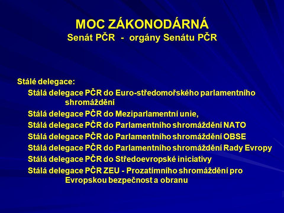 MOC ZÁKONODÁRNÁ Poslanecká sněmovna PČR - orgány PS PČR Výbory : Hospodářský výbor Petiční výbor Rozpočtový výbor Ústavně právní výbor Výbor pro bezpečnost Výbor pro evropské záležitosti Výbor pro obranu Výbor pro sociální politiku Výbor pro veřejnou správu a regionální rozvoj Výbor pro zdravotnictví Výbor pro životní prostředí Zahraniční výbor Zemědělský výbor