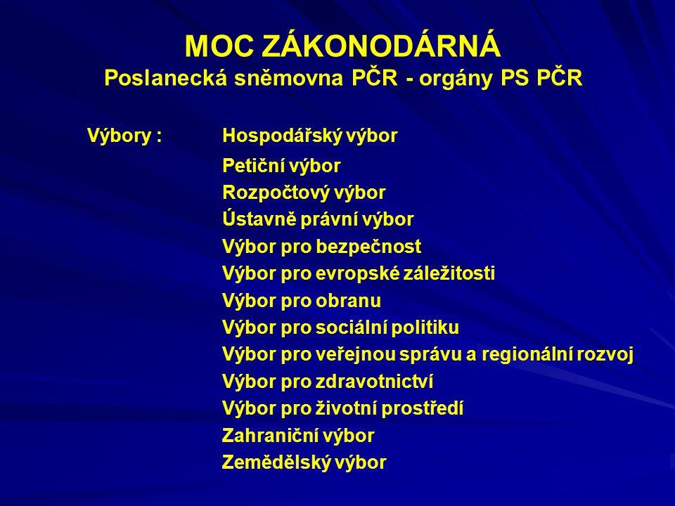 MOC ZÁKONODÁRNÁ Poslanecká sněmovna PČR - orgány PS PČR Výbory : Hospodářský výbor Petiční výbor Rozpočtový výbor Ústavně právní výbor Výbor pro bezpe