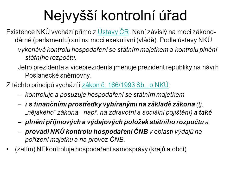 Nejvyšší kontrolní úřad Existence NKÚ vychází přímo z Ústavy ČR. Není závislý na moci zákono- dárné (parlamentu) ani na moci exekutivní (vládě). Podle