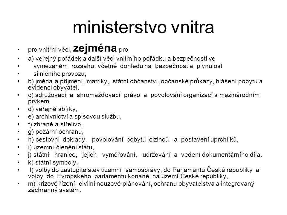 ministerstvo vnitra pro vnitřní věci, zejména pro a) veřejný pořádek a další věci vnitřního pořádku a bezpečnosti ve vymezeném rozsahu, včetně dohledu