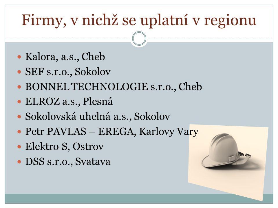Kalora, a.s., Cheb SEF s.r.o., Sokolov BONNEL TECHNOLOGIE s.r.o., Cheb ELROZ a.s., Plesná Sokolovská uhelná a.s., Sokolov Petr PAVLAS – EREGA, Karlovy Vary Elektro S, Ostrov DSS s.r.o., Svatava Firmy, v nichž se uplatní v regionu