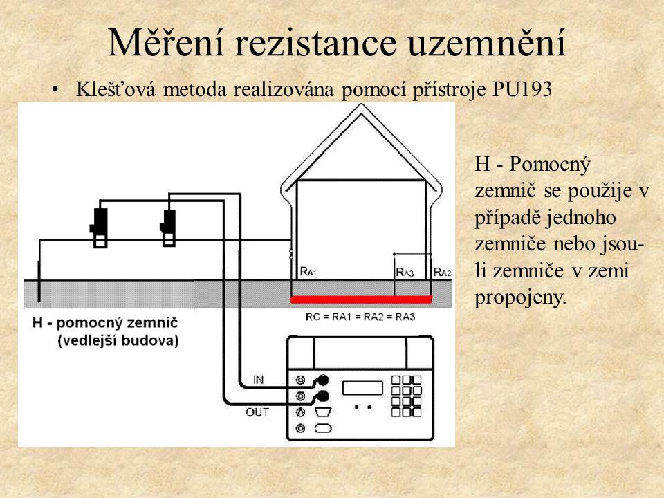 Klešťová metoda realizována pomocí přístroje PU193 Měření rezistance uzemnění H - Pomocný zemnič se použije v případě jednoho zemniče nebo jsou- li zemniče v zemi propojeny.