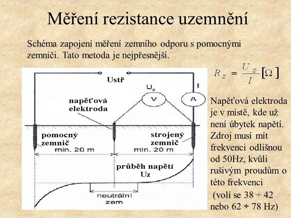Schéma zapojení měření zemního odporu s pomocnými zemniči.