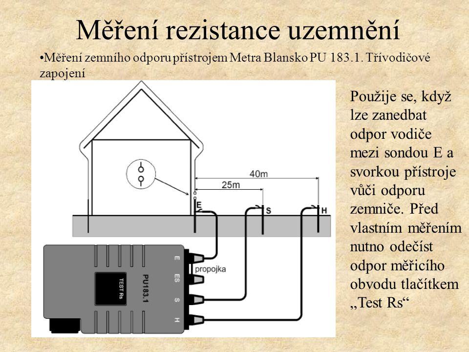 Měření rezistance uzemnění Měření zemního odporu přístrojem Metra Blansko PU 183.1.