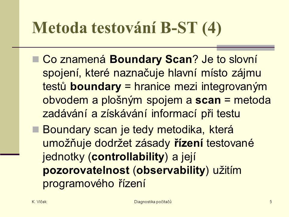 K. Vlček: Diagnostika počítačů5 Metoda testování B-ST (4) Co znamená Boundary Scan.