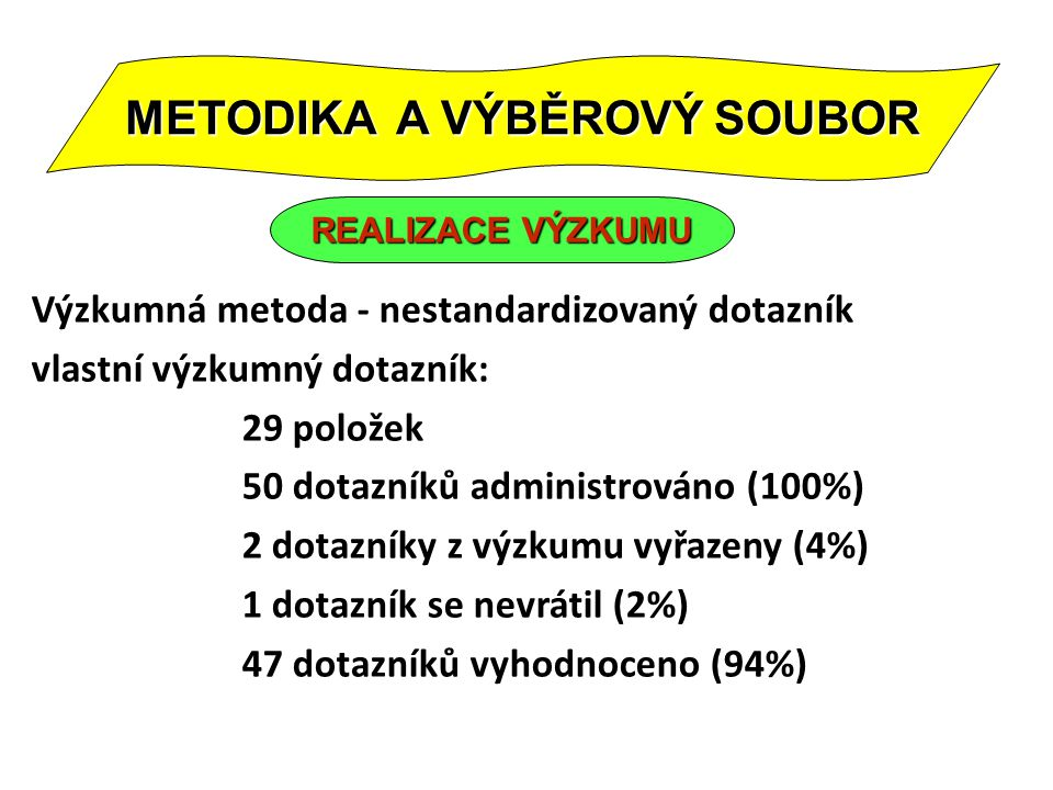 Výzkumná metoda - nestandardizovaný dotazník vlastní výzkumný dotazník: 29 položek 50 dotazníků administrováno (100%) 2 dotazníky z výzkumu vyřazeny (4%) 1 dotazník se nevrátil (2%) 47 dotazníků vyhodnoceno (94%) METODIKA A VÝBĚROVÝ SOUBOR REALIZACE VÝZKUMU