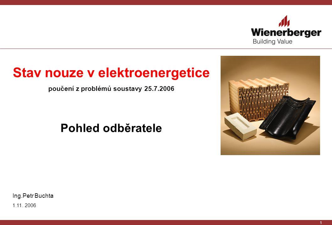 1 Stav nouze v elektroenergetice poučení z problémů soustavy 25.7.2006 Pohled odběratele Ing.Petr Buchta 1.11.