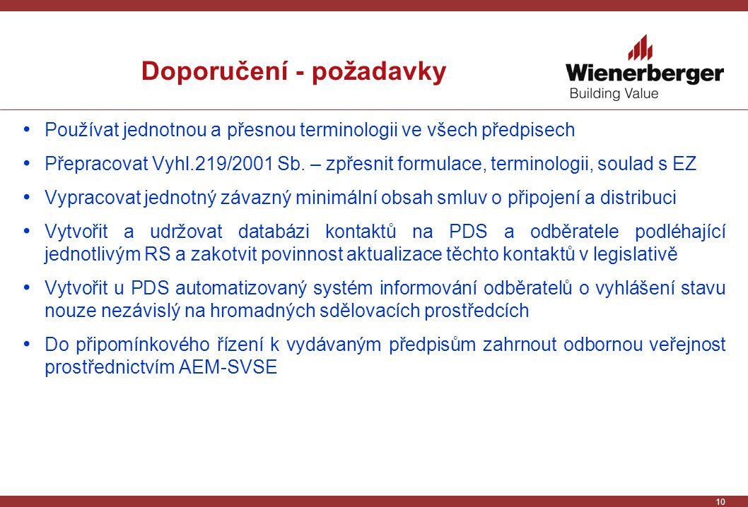 10 Doporučení - požadavky Používat jednotnou a přesnou terminologii ve všech předpisech Přepracovat Vyhl.219/2001 Sb.