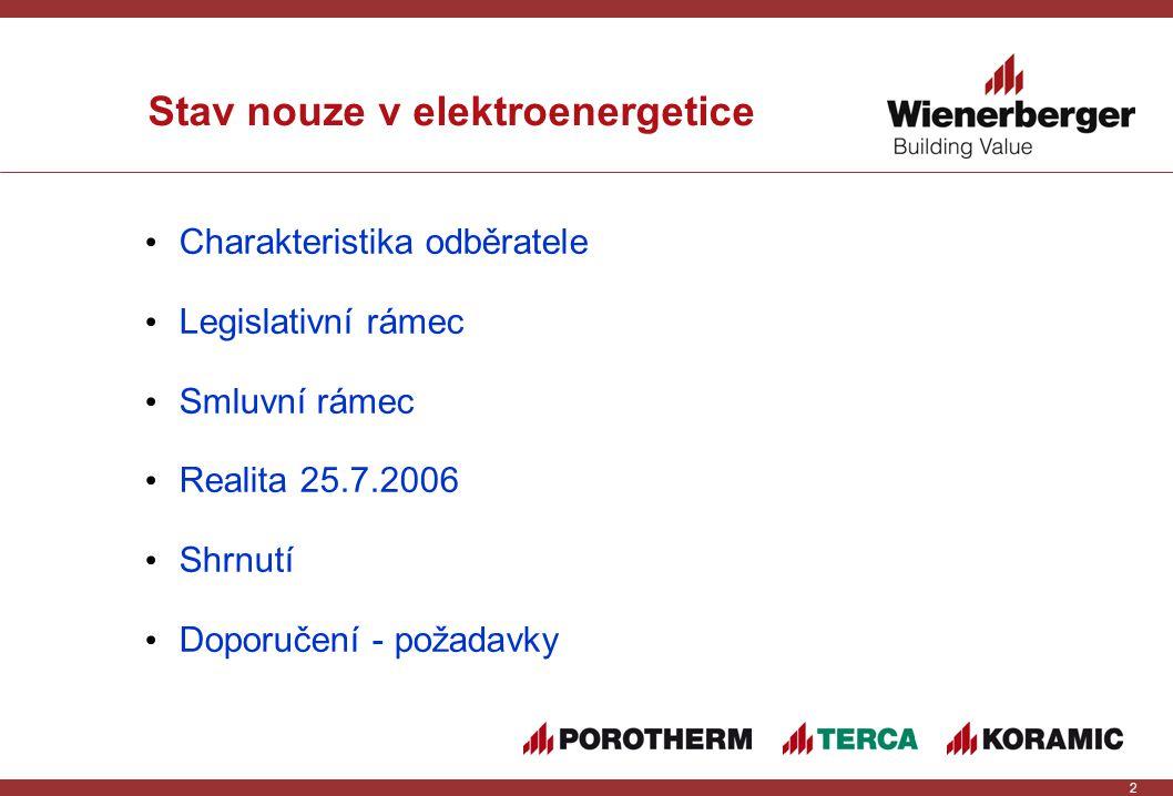 3 Charakteristika skupiny Wienerberger ČR 3 právní subjekty ve skupině 12 odběrných míst v regionech ČEZ Distribuce a E.ON Distribuce roční spotřeba cca 55 GWh všechna OM připojena na vn rezervovaná kapacita OM v rozmezí 0,6 – 1,3 MW 3 OM s rezervovanou kapacitou nad 1,0 MW 3 OM s rezervovanou kapacitou 1,0 MW
