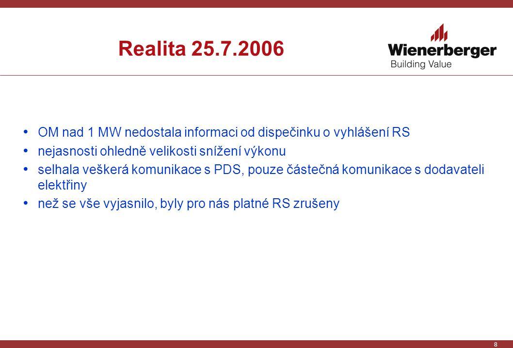 8 Realita 25.7.2006 OM nad 1 MW nedostala informaci od dispečinku o vyhlášení RS nejasnosti ohledně velikosti snížení výkonu selhala veškerá komunikace s PDS, pouze částečná komunikace s dodavateli elektřiny než se vše vyjasnilo, byly pro nás platné RS zrušeny