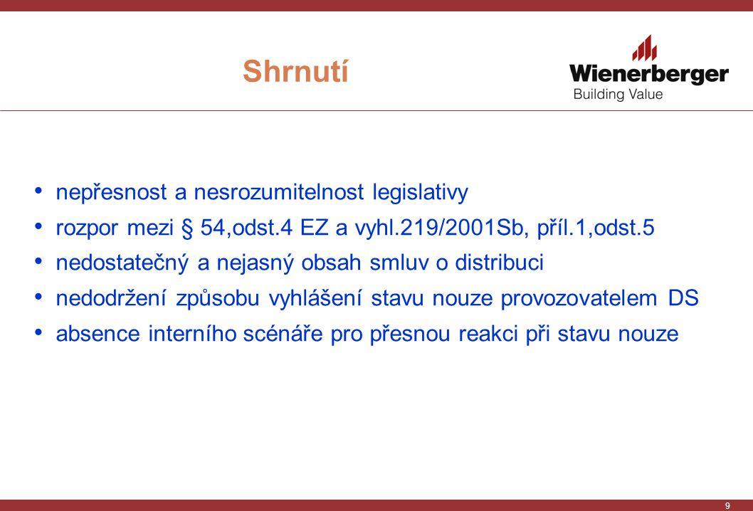 9 Shrnutí nepřesnost a nesrozumitelnost legislativy rozpor mezi § 54,odst.4 EZ a vyhl.219/2001Sb, příl.1,odst.5 nedostatečný a nejasný obsah smluv o distribuci nedodržení způsobu vyhlášení stavu nouze provozovatelem DS absence interního scénáře pro přesnou reakci při stavu nouze