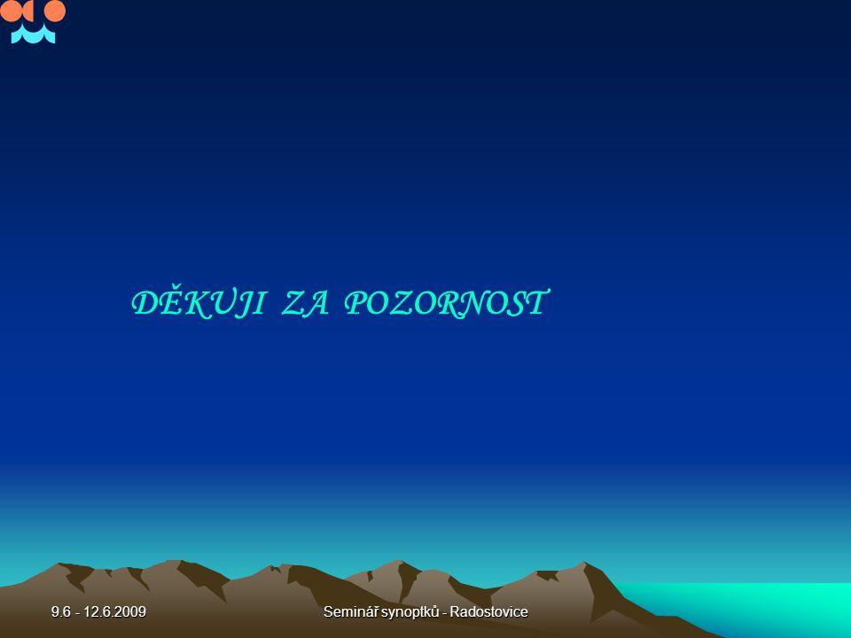 9.6 - 12.6.2009Seminář synoptků - Radostovice DĚKUJI ZA POZORNOST